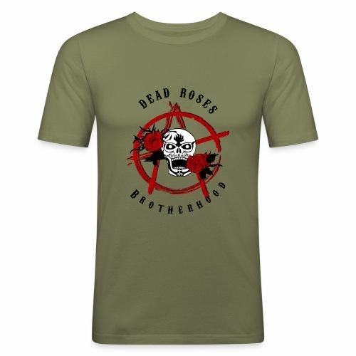 Dead Roses Anarchy Skull Black - Men's Slim Fit T-Shirt