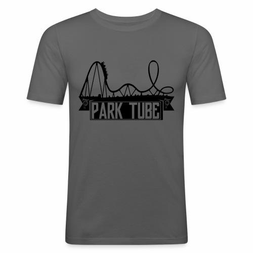 ParkTube Banner mit Achterbahn schwarz - Männer Slim Fit T-Shirt