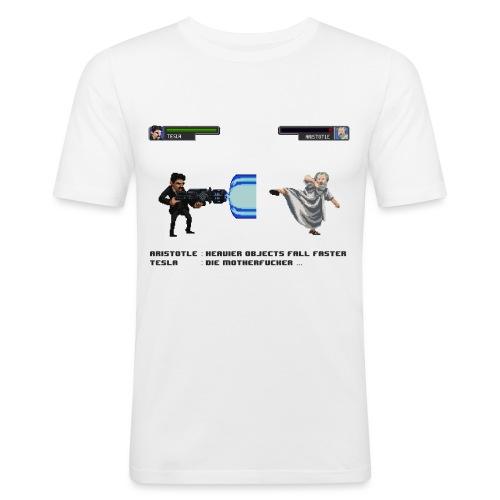 Aristotle vs Tesla - T-shirt près du corps Homme