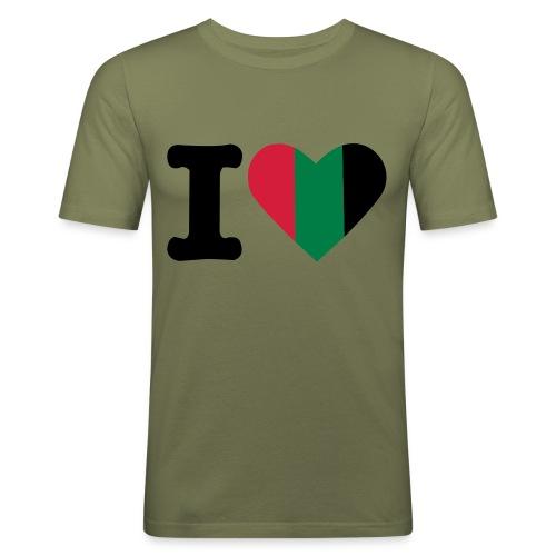 hartjeroodzwartgroen - Mannen slim fit T-shirt