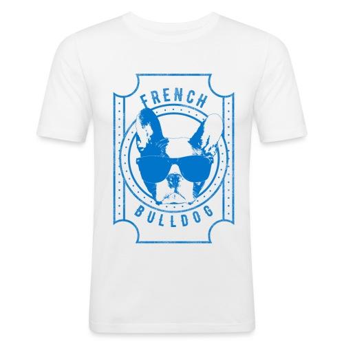 Franse Bulldog Blauw - Mannen slim fit T-shirt