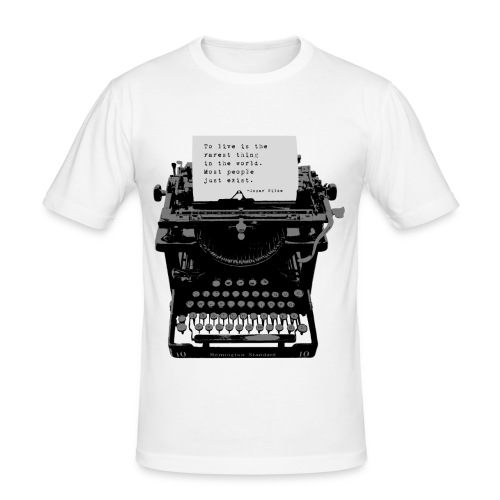 Oscar Wilde Quote on Old Remington 10 Typewriter - Men's Slim Fit T-Shirt