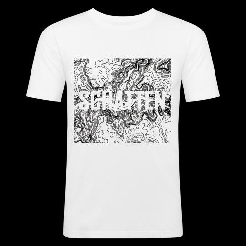 Hoehenlinien schwarz Schatten - Männer Slim Fit T-Shirt