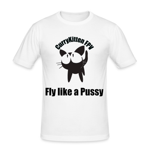 CurryKitten Logo - Fly like a Pussy - Men's Slim Fit T-Shirt