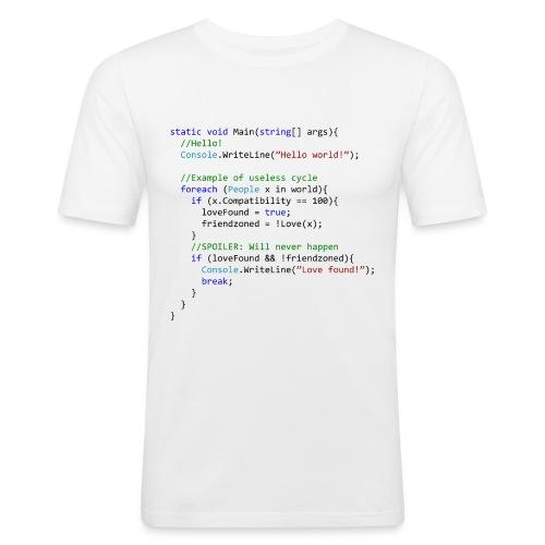 Love seen by a C# programmer - Maglietta aderente da uomo