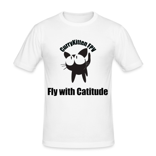 CurryKitten Logo - Fly with Catitude - Men's Slim Fit T-Shirt