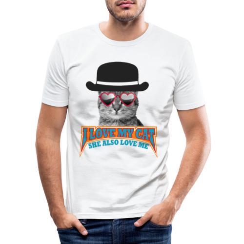 Ich liebe meine Katze und meine Katze liebt mich - Männer Slim Fit T-Shirt