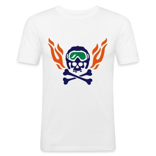 Totenkopf mit Skihelm, Skibrille und Flammen - Männer Slim Fit T-Shirt