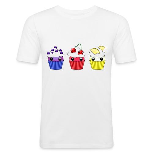 three kawaii cupcakes blueberry cherry lemon - Men's Slim Fit T-Shirt