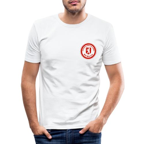 Logo in Rot Weiß - Männer Slim Fit T-Shirt