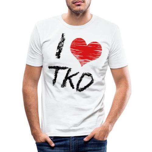 I love tkd letras negras - Camiseta ajustada hombre