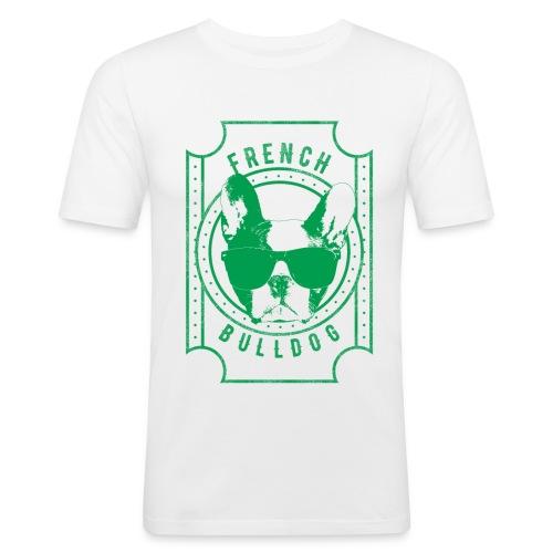 Franse Bulldog groen - Mannen slim fit T-shirt