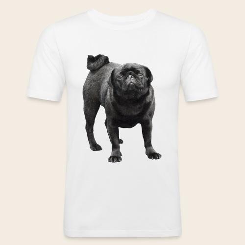 schwarzer Mops - Männer Slim Fit T-Shirt