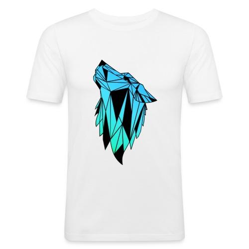 Blau-Schwarzer Wolf - Männer Slim Fit T-Shirt