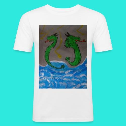 Waterdragons_in_the_thunder- - Mannen slim fit T-shirt