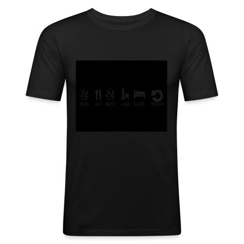 WEED. EAT. WEED. LOVE. SLEEP. REPEAT. - Men's Slim Fit T-Shirt