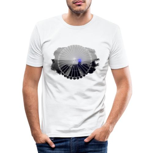 Ferris Wheel (grey/blue) - Herre Slim Fit T-Shirt
