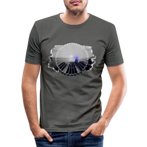 Ferris Wheel (grey/blue) - Herre Slim Fit T-Shirt