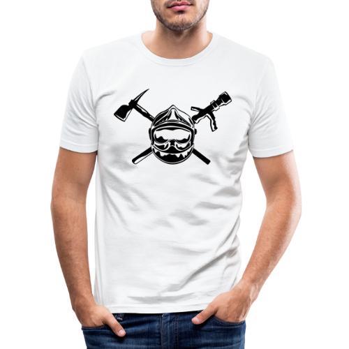 casque_pompier_hache et lance - T-shirt près du corps Homme