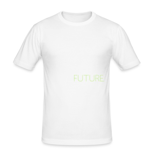 T-Shirt Shutter with Logo Text white and green - Slim Fit T-shirt herr