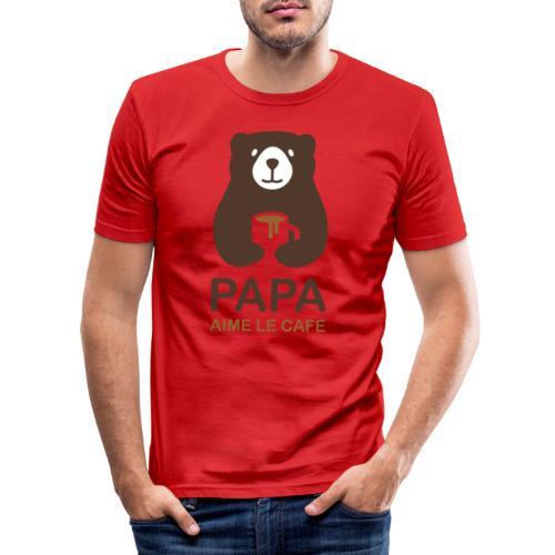 Papa aime le café - T-shirt près du corps Homme