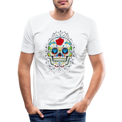 Rose und Diamantschädel - Männer Slim Fit T-Shirt