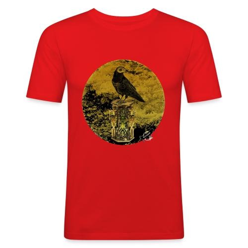 'Memento Mori', round w. logo by BlackenedMoonArts - Herre Slim Fit T-Shirt