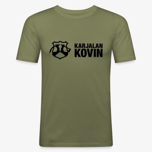 karjalan kovin logo vaaka musta - Miesten tyköistuva t-paita