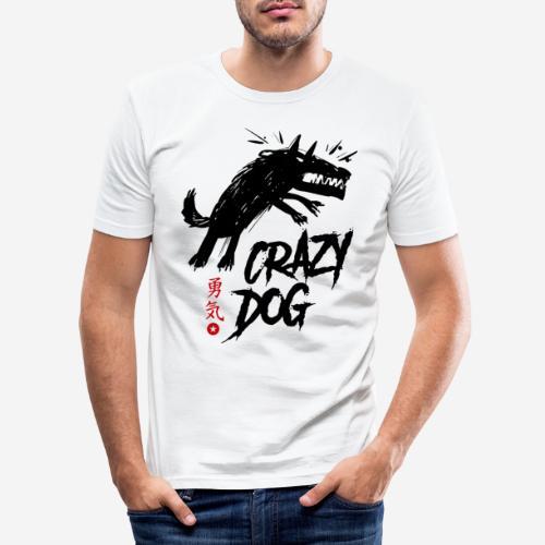 verrückter verrückter Hund - Männer Slim Fit T-Shirt