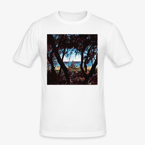 Vista mare dalla pineta - Maglietta aderente da uomo