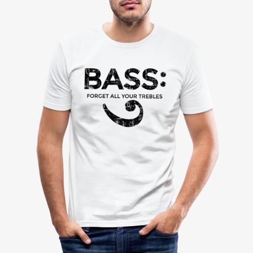 BASS - Forget all your trebles (Vintage/Schwarz) - Männer Slim Fit T-Shirt