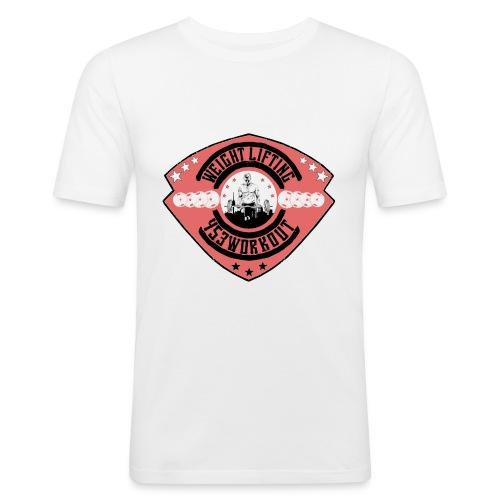 WeightliftingwappenfinalL png - Männer Slim Fit T-Shirt