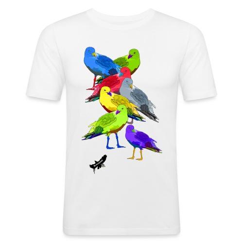 Seagulls by BlackenedMoonArts, with logo - Herre Slim Fit T-Shirt