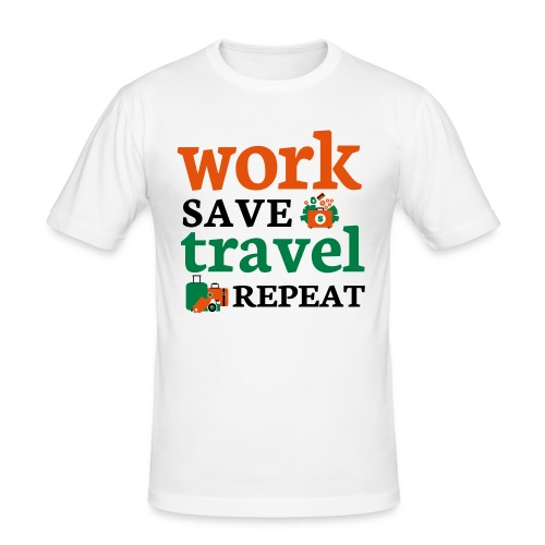 Work - Save - Travel - Repeat - Mannen slim fit T-shirt