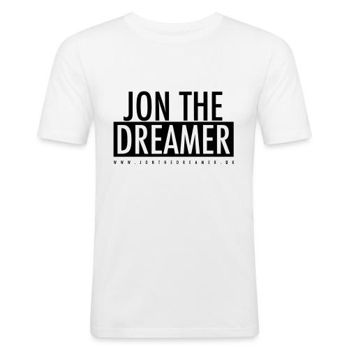 JON THE DREAMER LOGO - WHITE - Men's Slim Fit T-Shirt