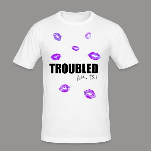 TROUBLED KISSES - White T-shirt - Men's Slim Fit T-Shirt