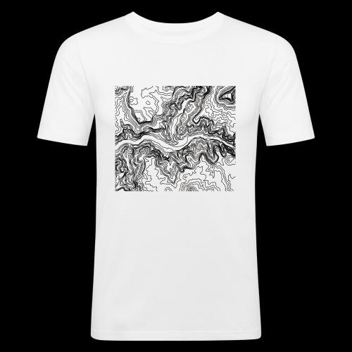 Hoehenlinien schwarz - Männer Slim Fit T-Shirt