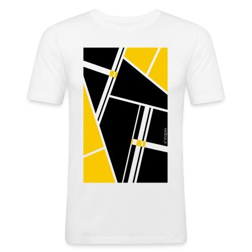 d'shapes black yellow - Maglietta aderente da uomo