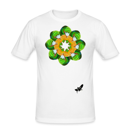 Parrot Pattern by BlackenedMoonArts, w. logo - Herre Slim Fit T-Shirt