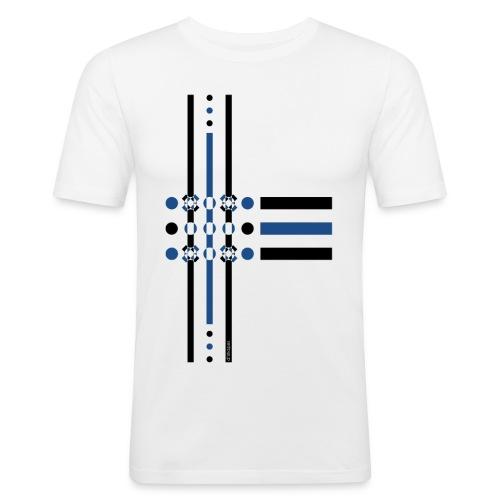 q4 blu - Maglietta aderente da uomo