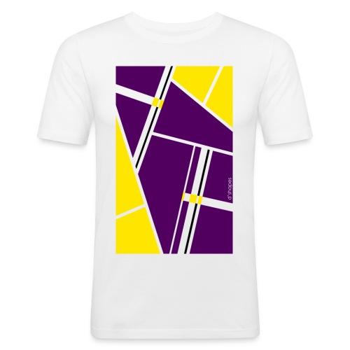d shapes block giallo viola - Maglietta aderente da uomo