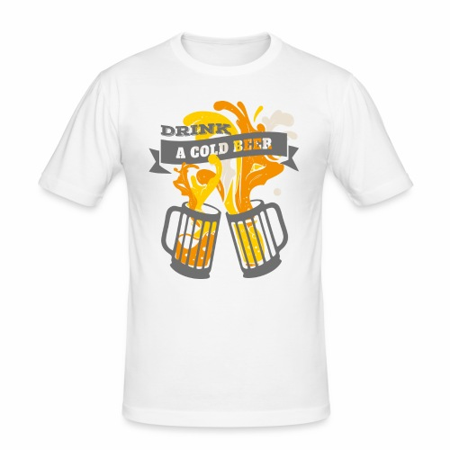 Drink a Cold Beer - Oktoberfest Volksfest Design - Männer Slim Fit T-Shirt