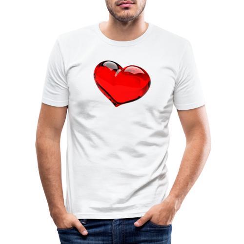 serce 3D - Obcisła koszulka męska
