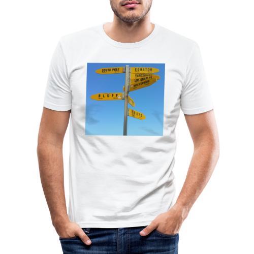 Wegweiser Cape Reinga Neuseeland Südpol Äquator - Männer Slim Fit T-Shirt