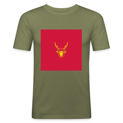 scimmiacervo sfondo rosso - Maglietta aderente da uomo