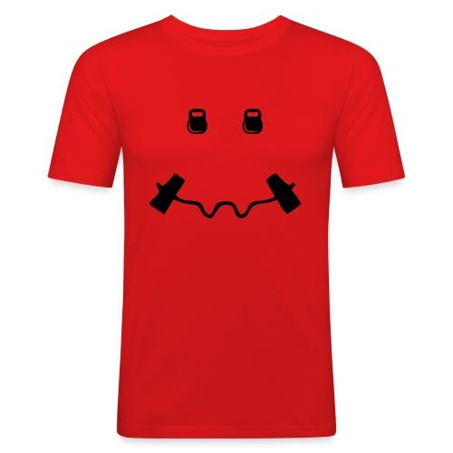Happy dumb-bell - Mannen slim fit T-shirt