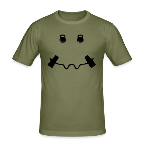 Happy dumb-bell - Mannen slim fit T-shirt