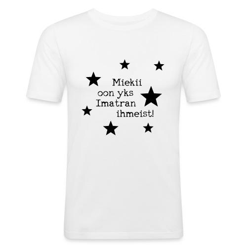 Miekii oon yks Imatran Ihmeist lasten t-paita - Miesten tyköistuva t-paita