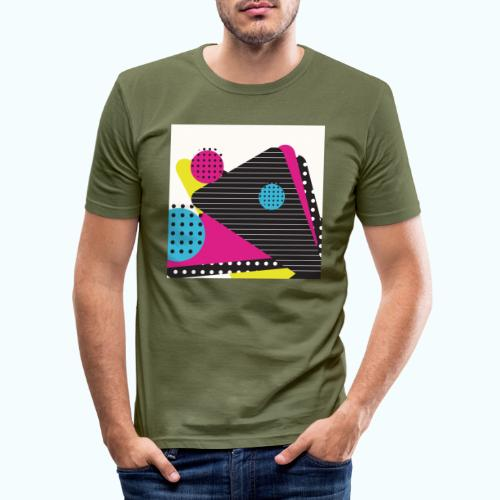 Abstract vintage shapes pink - Men's Slim Fit T-Shirt