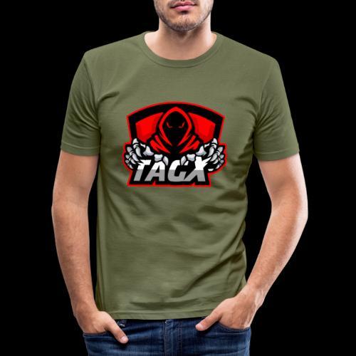 TagX Logo with red borders - Miesten tyköistuva t-paita